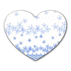 Blue And White Floral Background Heart Mousepads