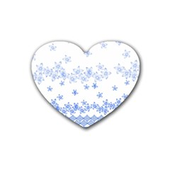 Blue And White Floral Background Rubber Coaster (heart)