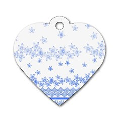 Blue And White Floral Background Dog Tag Heart (two Sides)