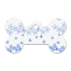 Blue And White Floral Background Dog Tag Bone (one Side)