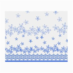 Blue And White Floral Background Small Glasses Cloth (2 Side)