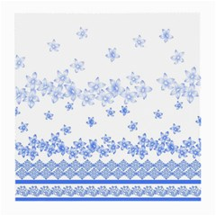 Blue And White Floral Background Medium Glasses Cloth (2 Side)