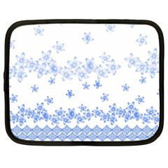 Blue And White Floral Background Netbook Case (large)