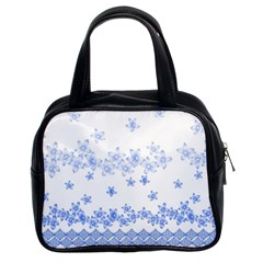 Blue And White Floral Background Classic Handbags (2 Sides)