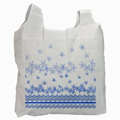 Blue And White Floral Background Recycle Bag (two Side)