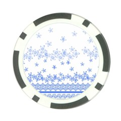 Blue And White Floral Background Poker Chip Card Guard (10 Pack)