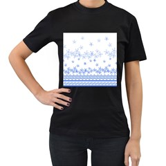 Blue And White Floral Background Women s T Shirt (black)