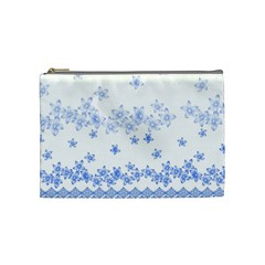 Blue And White Floral Background Cosmetic Bag (Medium)