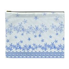 Blue And White Floral Background Cosmetic Bag (xl)