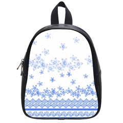 Blue And White Floral Background School Bags (small)