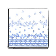 Blue And White Floral Background Memory Card Reader (square)