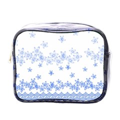 Blue And White Floral Background Mini Toiletries Bags