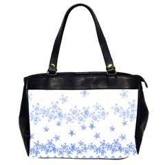 Blue And White Floral Background Office Handbags (2 Sides)