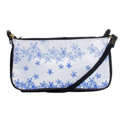 Blue And White Floral Background Shoulder Clutch Bags