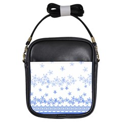 Blue And White Floral Background Girls Sling Bags