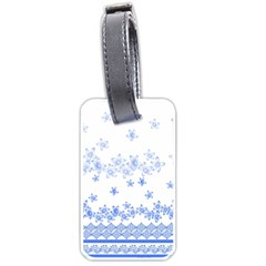 Blue And White Floral Background Luggage Tags (two Sides)
