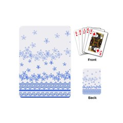 Blue And White Floral Background Playing Cards (mini)