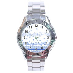 Blue And White Floral Background Stainless Steel Analogue Watch