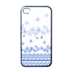 Blue And White Floral Background Apple Iphone 4 Case (black)