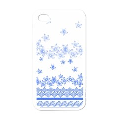Blue And White Floral Background Apple iPhone 4 Case (White)