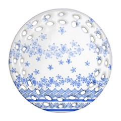 Blue And White Floral Background Round Filigree Ornament (two Sides)