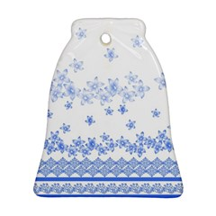 Blue And White Floral Background Bell Ornament (two Sides)