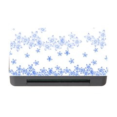 Blue And White Floral Background Memory Card Reader With Cf