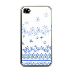 Blue And White Floral Background Apple Iphone 4 Case (clear)