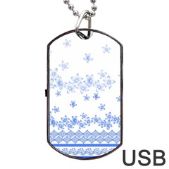 Blue And White Floral Background Dog Tag Usb Flash (two Sides)
