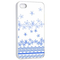Blue And White Floral Background Apple Iphone 4/4s Seamless Case (white)