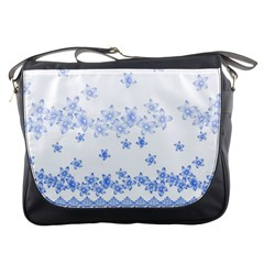 Blue And White Floral Background Messenger Bags
