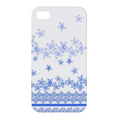 Blue And White Floral Background Apple Iphone 4/4s Premium Hardshell Case