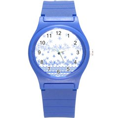 Blue And White Floral Background Round Plastic Sport Watch (s)