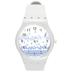 Blue And White Floral Background Round Plastic Sport Watch (m)