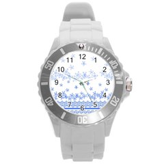Blue And White Floral Background Round Plastic Sport Watch (l)