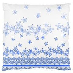 Blue And White Floral Background Large Cushion Case (Two Sides)