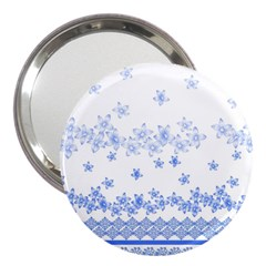 Blue And White Floral Background 3  Handbag Mirrors