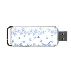 Blue And White Floral Background Portable Usb Flash (two Sides)