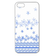 Blue And White Floral Background Apple Seamless Iphone 5 Case (clear)