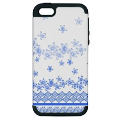 Blue And White Floral Background Apple Iphone 5 Hardshell Case (pc+silicone)