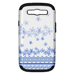 Blue And White Floral Background Samsung Galaxy S Iii Hardshell Case (pc+silicone)
