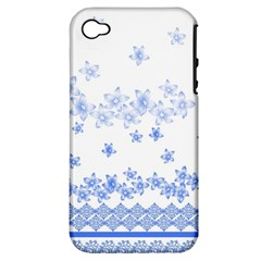Blue And White Floral Background Apple Iphone 4/4s Hardshell Case (pc+silicone)