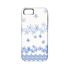 Blue And White Floral Background Apple Iphone 5 Classic Hardshell Case (pc+silicone)
