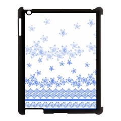 Blue And White Floral Background Apple Ipad 3/4 Case (black)