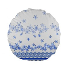 Blue And White Floral Background Standard 15  Premium Round Cushions
