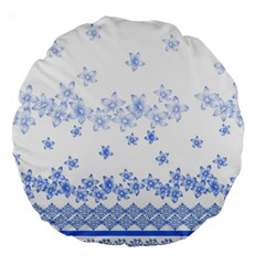 Blue And White Floral Background Large 18  Premium Round Cushions