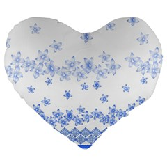 Blue And White Floral Background Large 19  Premium Heart Shape Cushions