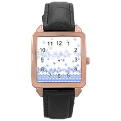 Blue And White Floral Background Rose Gold Leather Watch