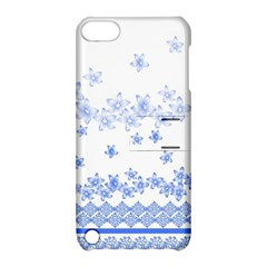 Blue And White Floral Background Apple Ipod Touch 5 Hardshell Case With Stand