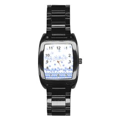 Blue And White Floral Background Stainless Steel Barrel Watch